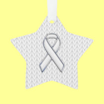 Chrome on White Knit Ribbon Awareness Print