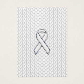 Chrome on White Knit Ribbon Awareness Print Business Card
