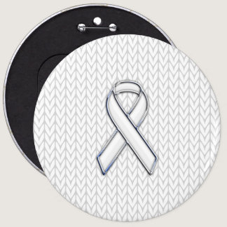 Chrome on White Knit Ribbon Awareness Print Button
