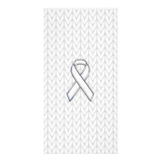 Chrome on White Knit Ribbon Awareness Print Card