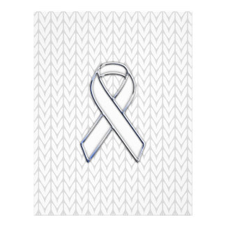 Chrome on White Knit Ribbon Awareness Print Flyer