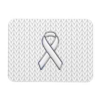 Chrome on White Knit Ribbon Awareness Print Magnet