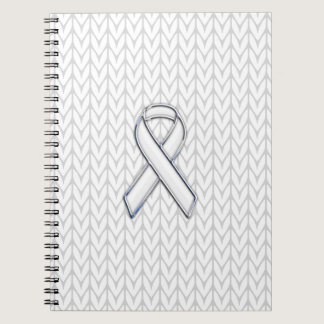 Chrome on White Knit Ribbon Awareness Print Notebook
