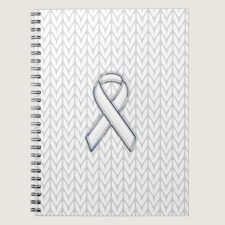 Chrome on White Knit Ribbon Awareness Print Notebook