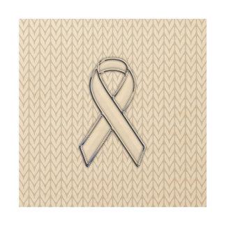 Chrome on White Knitting Ribbon Awareness Print