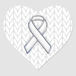 Chrome on White Knitting Ribbon Awareness Print Heart Sticker