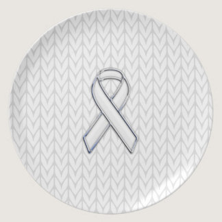 Chrome on White Knitting Ribbon Awareness Print Melamine Plate
