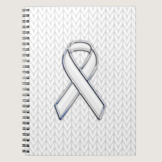 Chrome on White Knitting Ribbon Awareness Print Notebook