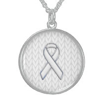 Chrome on White Knitting Ribbon Awareness Print Sterling Silver Necklace