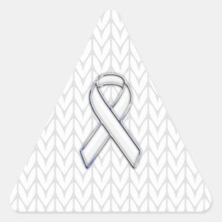 Chrome on White Knitting Ribbon Awareness Print Triangle Sticker