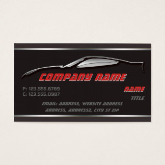 Chrome Outline Corvette Business cards