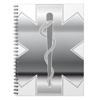 Chrome Paramedic Symbol First Aid Spiral Notebook