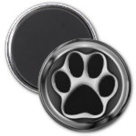 CHROME PAW PRINT 2 INCH ROUND MAGNET