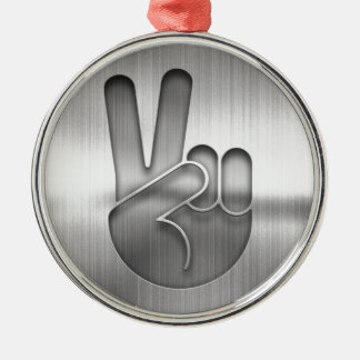 Chrome Peace Hand Metal Ornament