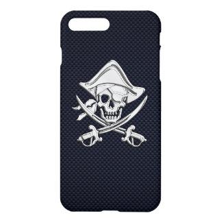 Chrome Pirate Crossbones on Carbon Fiber iPhone 7 Plus Case