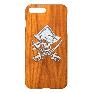 Chrome Pirate Crossbones on Teak Wood iPhone 7 Plus Case