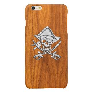 Chrome Pirate Crossbones on Teak Wood Print Glossy iPhone 6 Plus Case