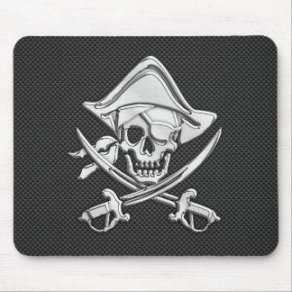 Chrome Pirate on Carbon Fiber Mouse Pad
