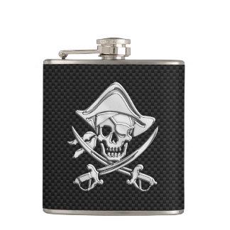 Chrome Pirate on Carbon Fiber Print Hip Flask