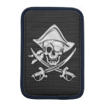 Chrome Pirate on Carbon Fiber Sleeve For iPad Mini