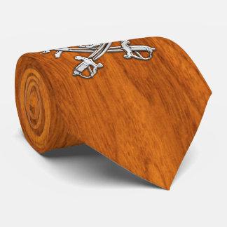 Chrome Pirate on nautical Teak Veneer print Neck Tie