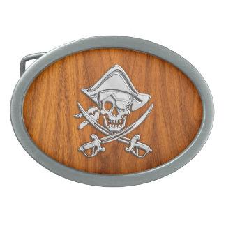 Chrome Pirate on Teak Veneer Belt Buckle