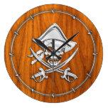 Chrome Pirate on Teak Veneer Wall Clock