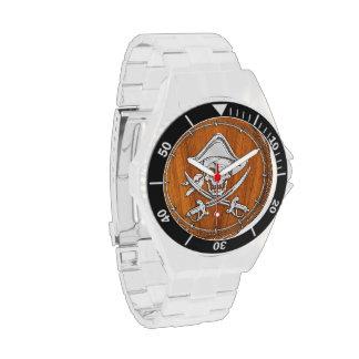 Chrome Pirate on Teak Veneer Wrist Watches