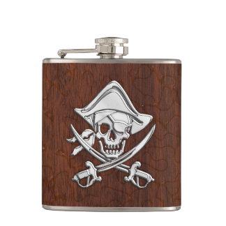 Chrome Pirate on Wet Mahogany Print Hip Flasks
