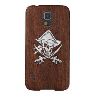 Chrome Pirate onWet Mahogany Print Galaxy S5 Cases