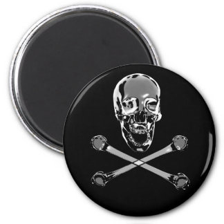 Chrome Pirate Skull and Crossbones 2 Inch Round Magnet
