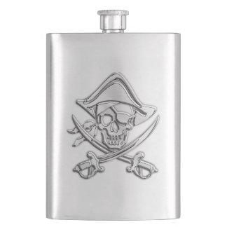 Chrome Pirate Skull Nautical Print Hip Flask
