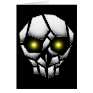 Chrome Plated Skull with Glowing Eyes Card