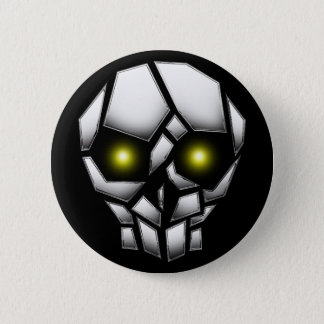 Chrome Plated Skull with Glowing Eyes Pinback Button