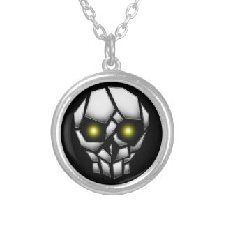 Chrome Plated Skull with Glowing Eyes Silver Plated Necklace