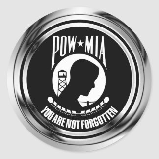 CHROME POW MIA CLASSIC ROUND STICKER