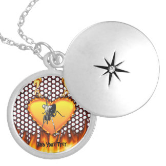 Chrome praying mantis design 2 with fire round locket necklace