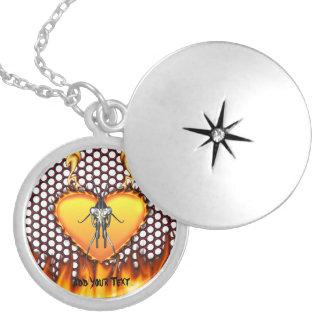Chrome praying mantis design 3 with fire round locket necklace