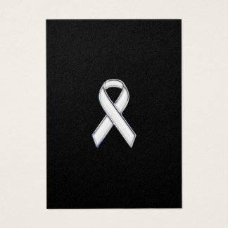 Chrome Print Belted White Ribbon Awareness Business Card