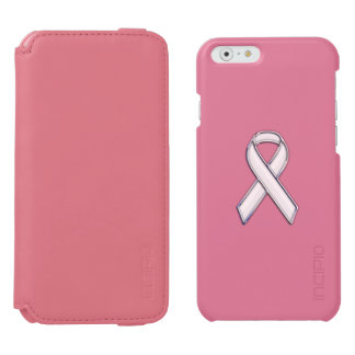 Chrome Print Belted White Ribbon Awareness iPhone 6/6s Wallet Case