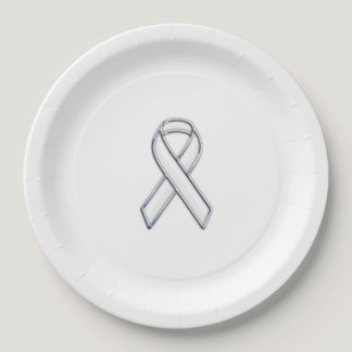 Chrome Print Belted White Ribbon Awareness Paper Plate