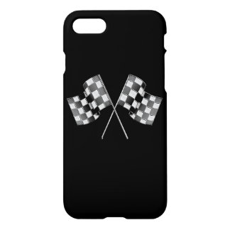 Chrome Racing Flags on Black iPhone 8/7 Case