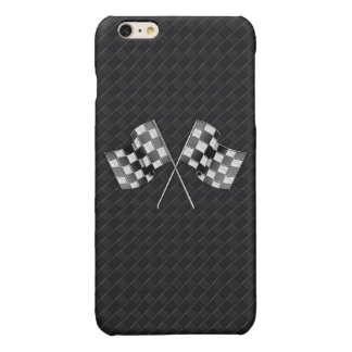 Chrome Racing Flags on Checkered Leather Print Glossy iPhone 6 Plus Case