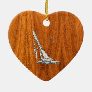 Chrome Regatta Sailboat on Teak Veneer Styles Ceramic Ornament
