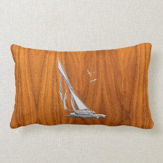 Chrome Regatta Sailboat on Teak Veneer Styles Lumbar Pillow