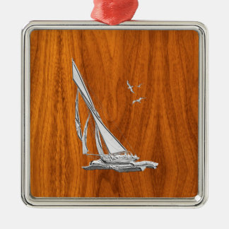 Chrome Regatta Sailboat on Teak Veneer Styles Metal Ornament