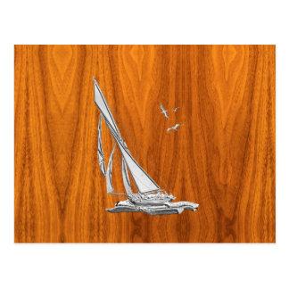 Chrome Regatta Sailboat on Teak Veneer Styles Postcard