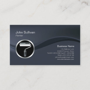 Chrome business cards templates zazzle chrome roller brush icon painter business card colourmoves