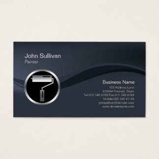 Chrome Roller Brush Icon Painter Business Card