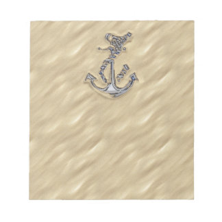 Chrome Rope Anchor in the Sand Notepad